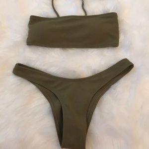 Forest green bandeau bikini. Never worn
